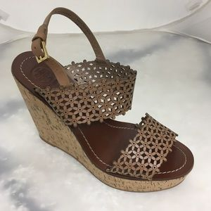192628565 Tory Burch · Tory Burch Daisy Floral Laser Cut Wedge Sandals 9.  125  350